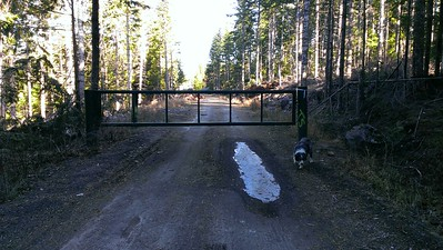 The locked gate right where spur 220 meets it.  We will have to walk in.
