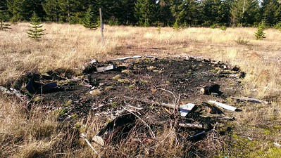 The remains of what was probably the ressearch building.  Someone burned it down.