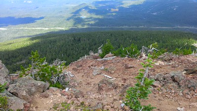 Looking north from the old lookout position - you can see remnants of the lookout below