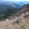 Some of the very dramatic rock formations on the east side of Olallie Butte