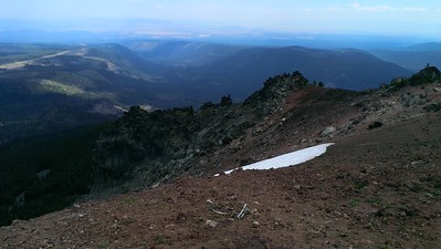 The Northeast corner of the butte still had a bit of snow.  The east side of the butte has very sharp dropoffs