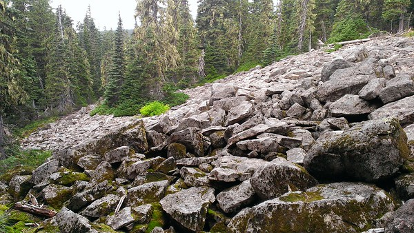 Rockslide on Grouse Point Trail