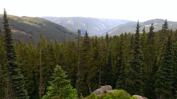 Looking up Shellrock creek drainage from Grouse Point rockslide