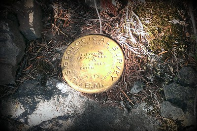 Bench mark on top of Bracket Mountain - 5013 feet