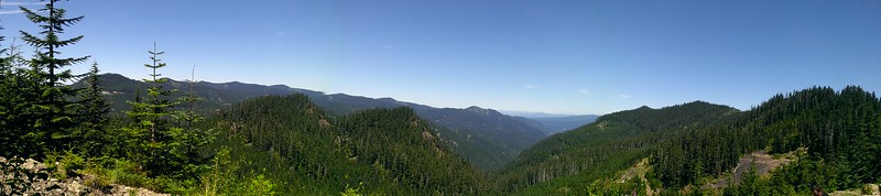 Panorama from old road looking up Cedar Creek to Wash Creek beyond