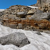 Artistic rocks in snow