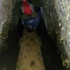 The last tunnel we had to walk on the pipe - the water on either side got to be about a foot deep