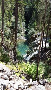 Waterfall and pool on Elk Lake Creek trail - below rockslide
