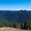 On top of un-named hill near old Salmon Butte trail - looking south to Olallie Butte, Mt Jefferson - can also see 3 sisters and broken top - Signal Buttes closest peaks