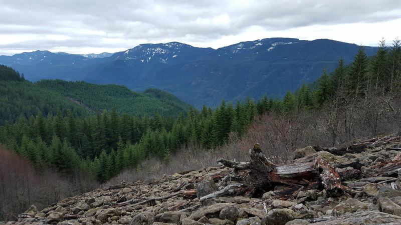 Fish Creek Mountain (left center) and Whalehead (right) from big rockslide on Cripple Creek trail
