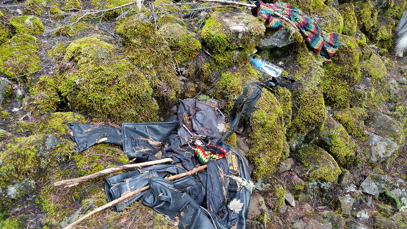 A somewhat creepy discovery on one of the rockslide on the Cripple Creek Trail.