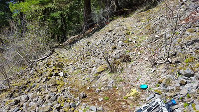 Switchback at first rock field