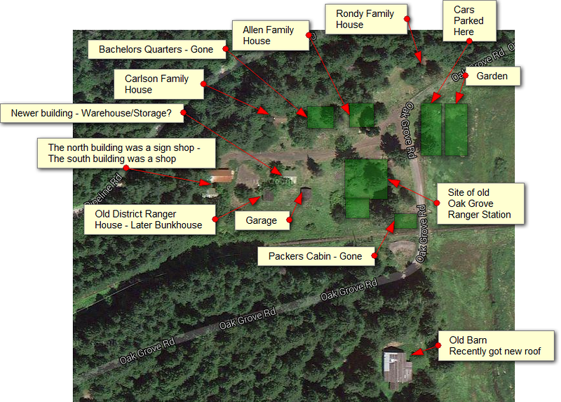 This is a labelled overview of the oak grove work center with the purpose of each of the buildings and the locations of a couple of buildings that are no longer there.