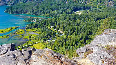 Looking down at the mouth of the Stehekin River from Beullers Bluff - Stehekin, Washington - You can see Carls garden about mid photo