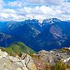 From the top of Trappers Peak on the Thornton Lakes trail - Peaks (left to right): Pyramid Peak, Pinnacle Peak, Paul Bunyans Stump, Colonial Peak, Snowfield Peak