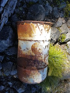 I don't recall seeing this before - there were two of these large oil drums on the rockslide - from logging activity perhaps?  On Burnt Granite Trail