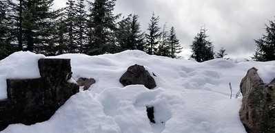 "The old lookout site on Squaw Mountain - probably 12-18"" of snow"
