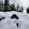 """The old lookout site on Squaw Mountain - probably 12-18"""" of snow"""