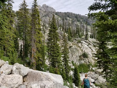 The offtrail ascent towards Delta Lake - rock field 1