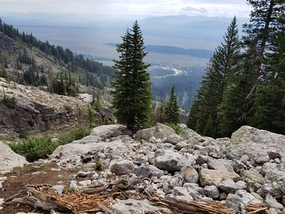 Looking back toward the valley from the first rock field below Delta Lake