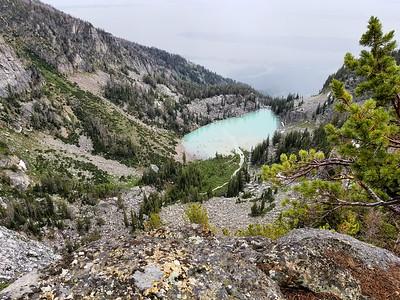 Looking down at Delta Lake 1000' below