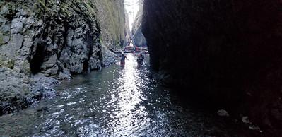 Torren, Cass and Jeff wading thru the first deeper section on Oneota Creek
