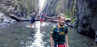Torren, Cass and Jeff after crossing the logjam on Oneota Creek