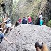 Climbing over the logjam on Oneota Creek