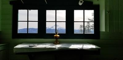 Mt Jefferson from inside the cabin on Hawk Mountain