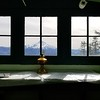 Mt Jefferson from inside the cabin on Hawk Mountain