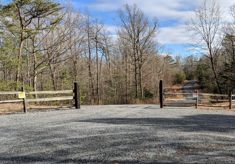 Gate across Panhandle road from Veach Gap east parking lot