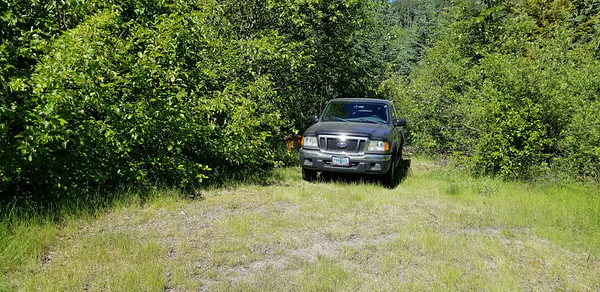 """Parked at the """"shortcut trail"""" landing - this cut about 2 miles off our trip and about 500' of elevation - that would be important for this trip"""
