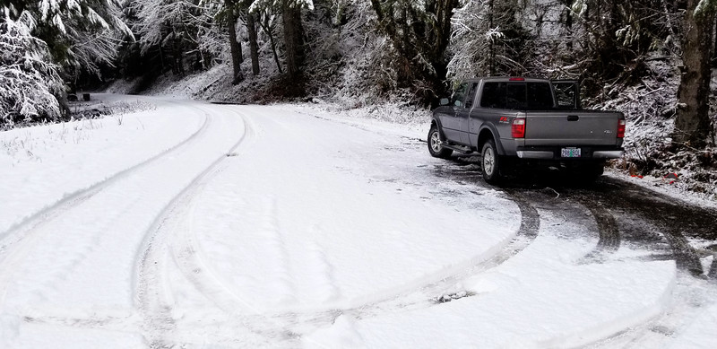 """You can see there was 3-4"""" of snow on the road when we got there"""