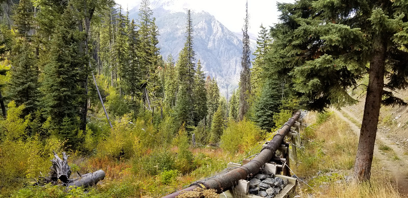 Old Water pipe along the East Fork Wallowa River -  I found out that this is used to pipe water to the turbine at the start of the trail - it generates 1.1 MW of power according to the site I found
