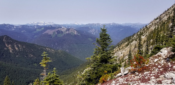 View looking Northwest from ridge above Minotaur Lake - I think the peaks in the distance might be Black Mountain to the right, and  Monte Cristo and Columbia peaks towards the left