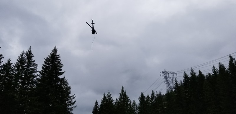 There was a helicopter near where we started our trip - it was doing helicopter logging - this was when it climbed (it climbed REALLY Fast) - you could see the line dangling from under it.