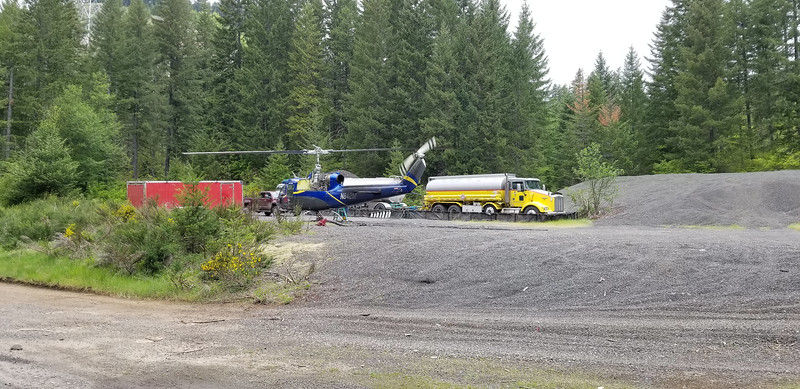 There was a helicopter near where we started our trip - it was doing helicopter logging