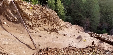 A huge slide off the 6310 road near where the Graham Pass trail comes down to the Collawash