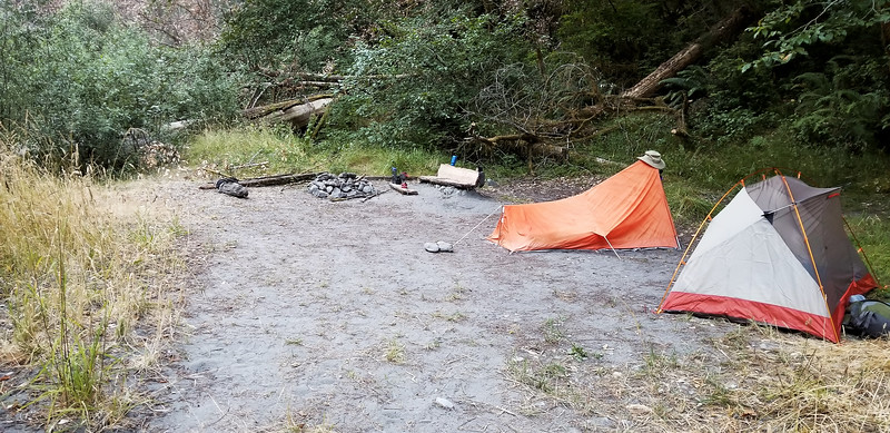 Our first night campsite on Redwood creek - someone build a nice little bench