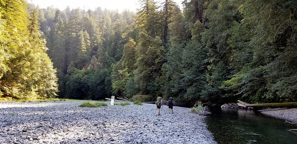 Heading north on Redwood creek - the gravel bar is very wide most of the way