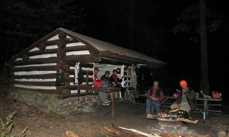 053 Enjoying the campfire at Pine Knob Shelter