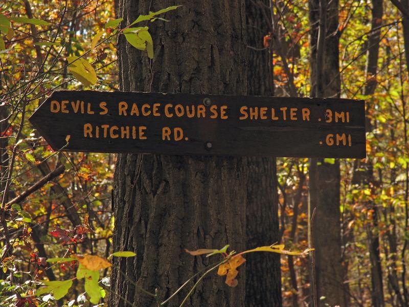 018 Blue blaze trailhead sign_mileage to Devil's Racecourse Shelter & Ritchie Rd