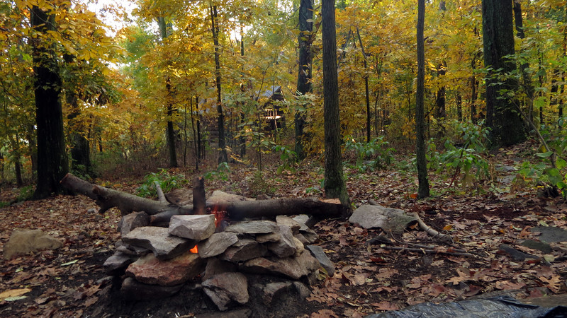Our campfire with Ed Garvey shelter in the backround.