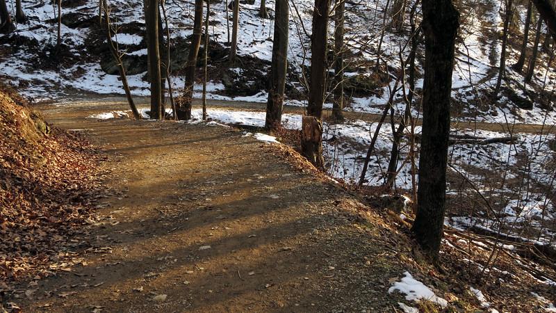 87 Setting sun glows on trail berm