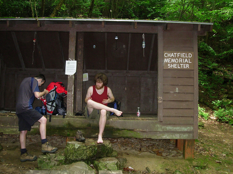Getting lunch at Chatfield shelter on Day 1