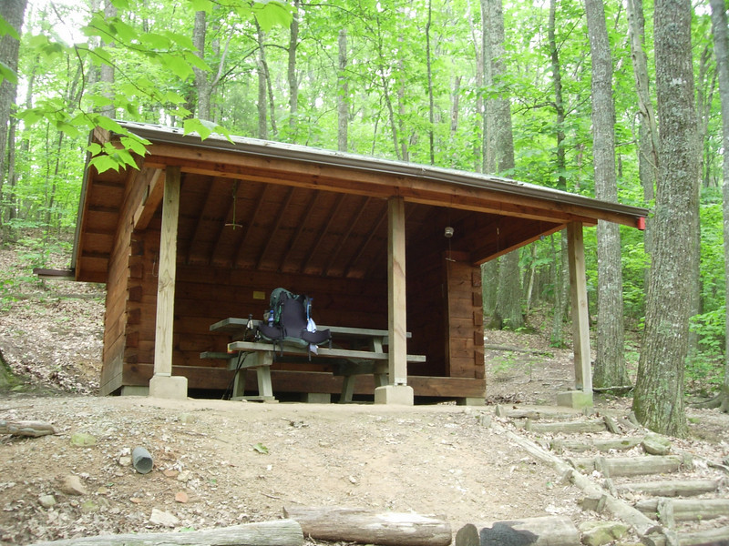 Hurricane Mountain shelter for night 3.  We planned to go on but had a thunderstorm move in and chose to stay, a decision later regretted
