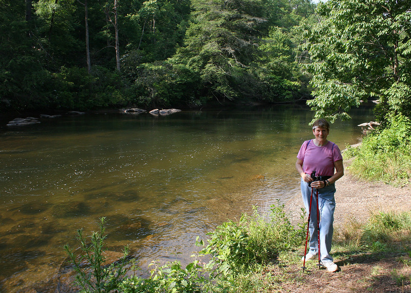 Susan Along the Toccoa River as we finish our hike by walking to the Shallowford Bridge and back to the car