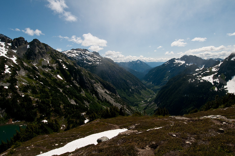 Looking east down the Stehekin Valley with a bit of Doubtful Lake on the left.