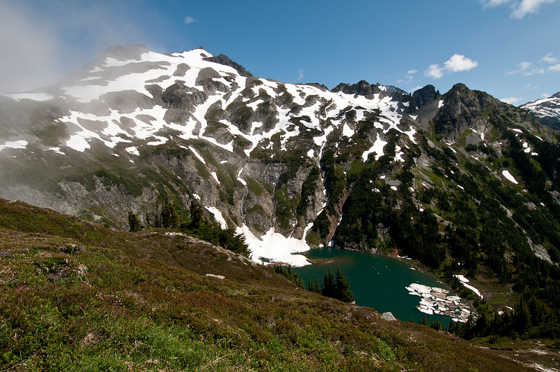 Doubtful Lake with Sahale Mountain in the background.