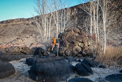 Hypnotic rock formations everywhere, including this pile amidst the trees.  Photo:  Paul